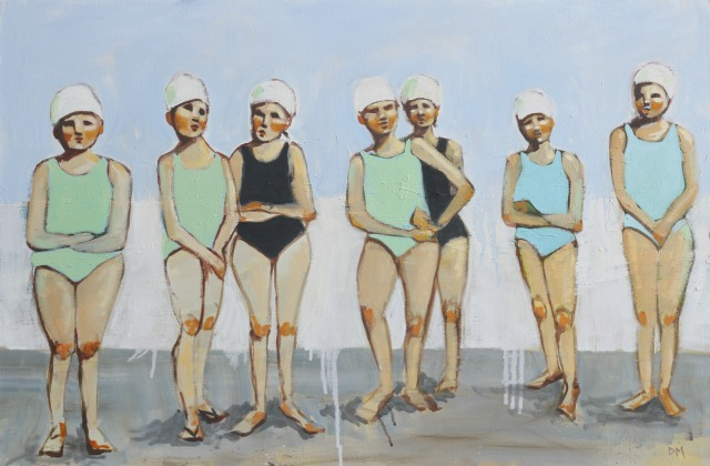 painting of a line of swimmers, figurative art,