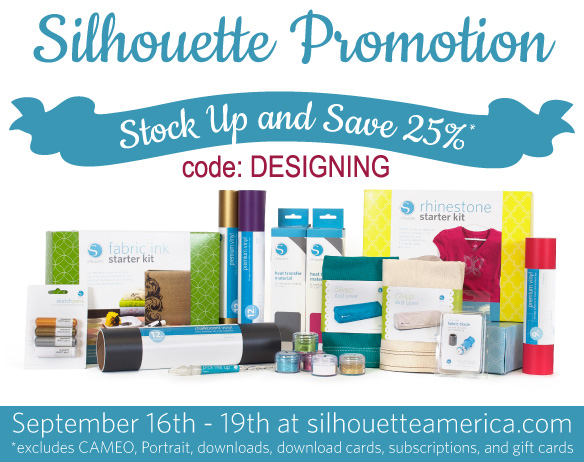 Use code: DESIGNING and save 25% off at http://www.silhouetteamerica.com/  #silhouette #silhouettepromotion #silhouettesale