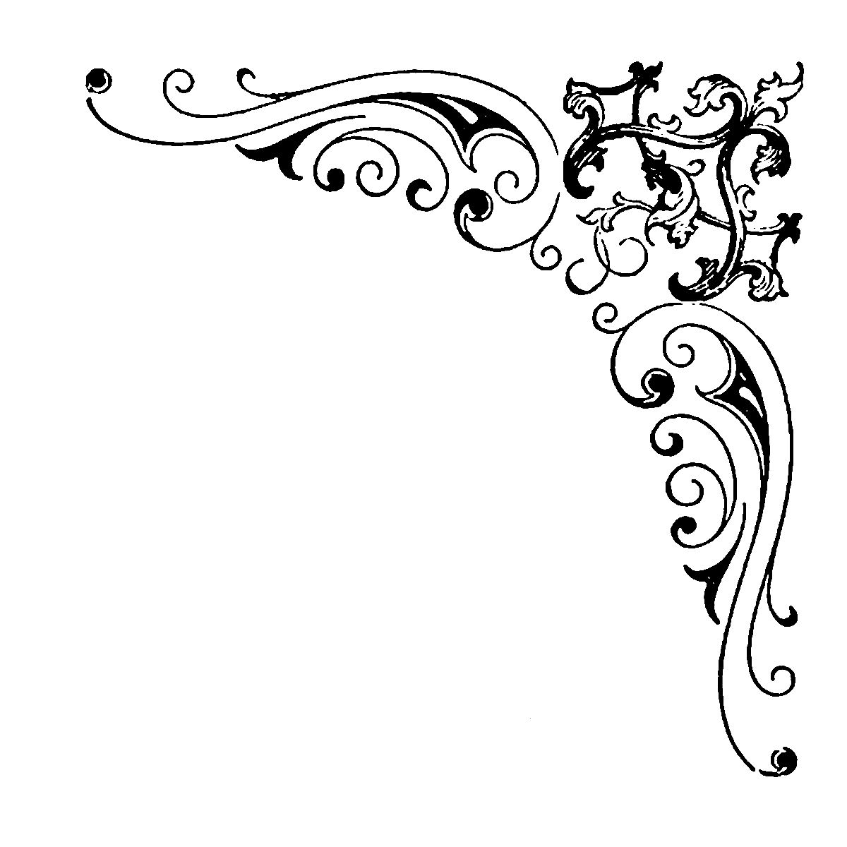 Digital Stamp Design: Flourish Rose Border Corner Clip Art ...