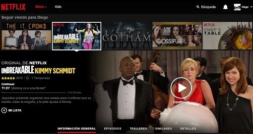 La pantalla de selección de Netflix