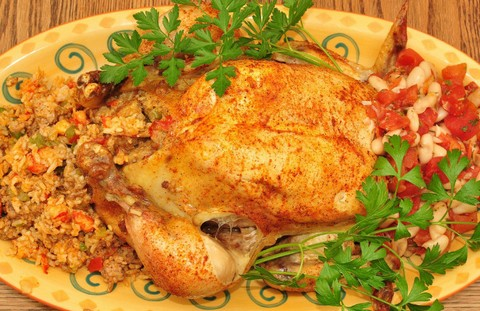 Roasted Chicken with Crawfish Rice Stuffing