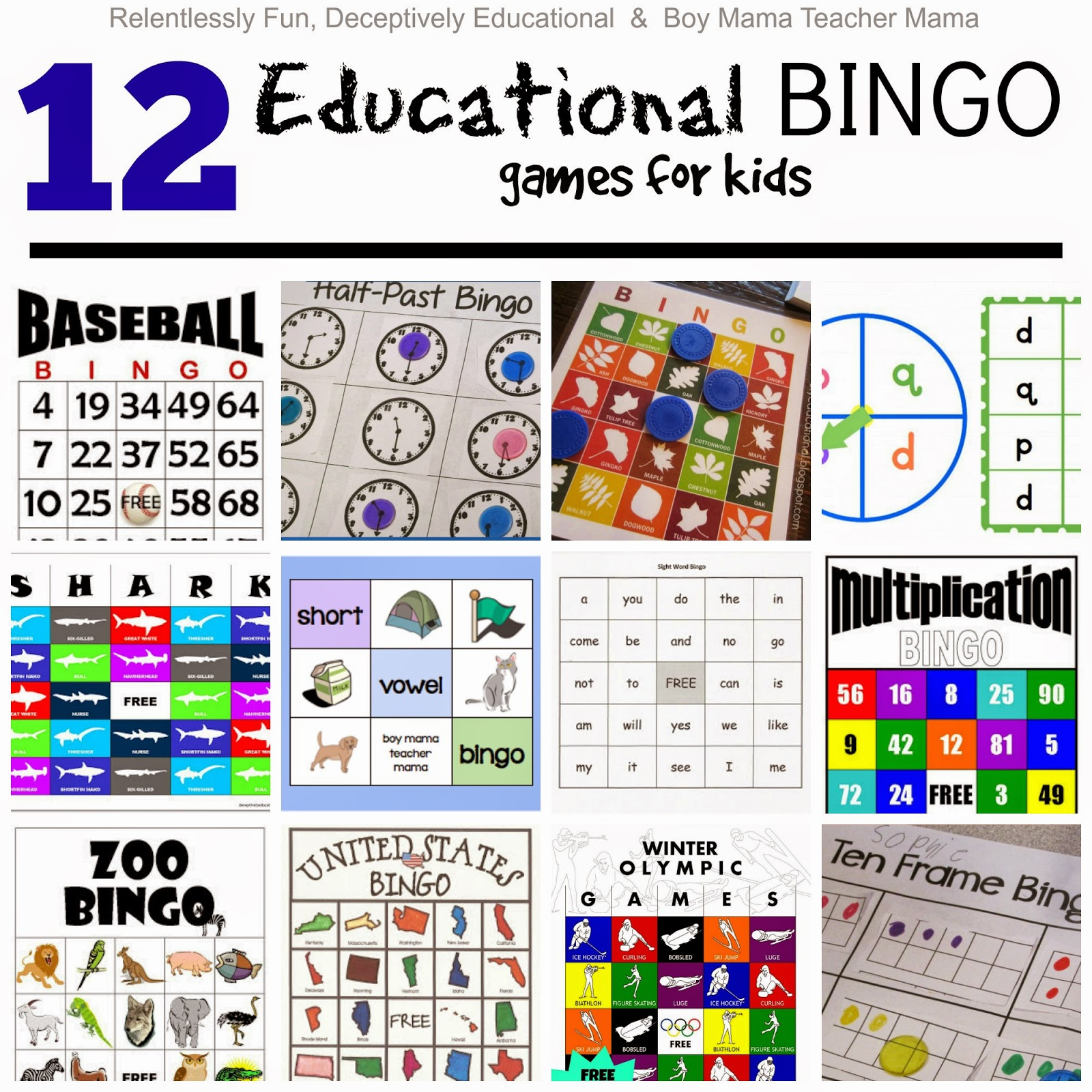 Relentlessly Fun Deceptively Educational Educational BINGO games