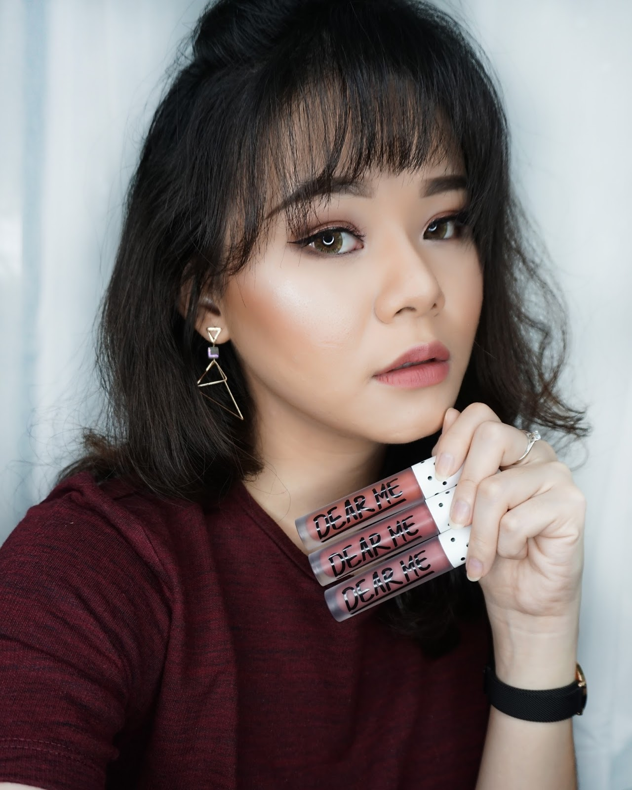 dear me, dear me matte lip, liquid lipstick, lipstick lokal, indonesia, liquid lipstick murah, makeup, makeup murha, dear me lip, review, swatches, lips, lip