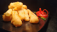Golden fried ( deep fried) pineapple fingers Food Recipe