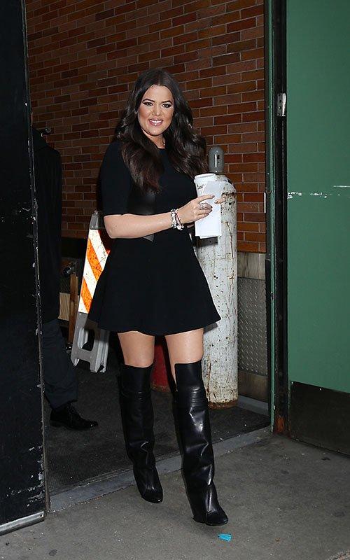 Khloe Kardashian Black Leather Dress