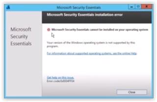 error installing MSE