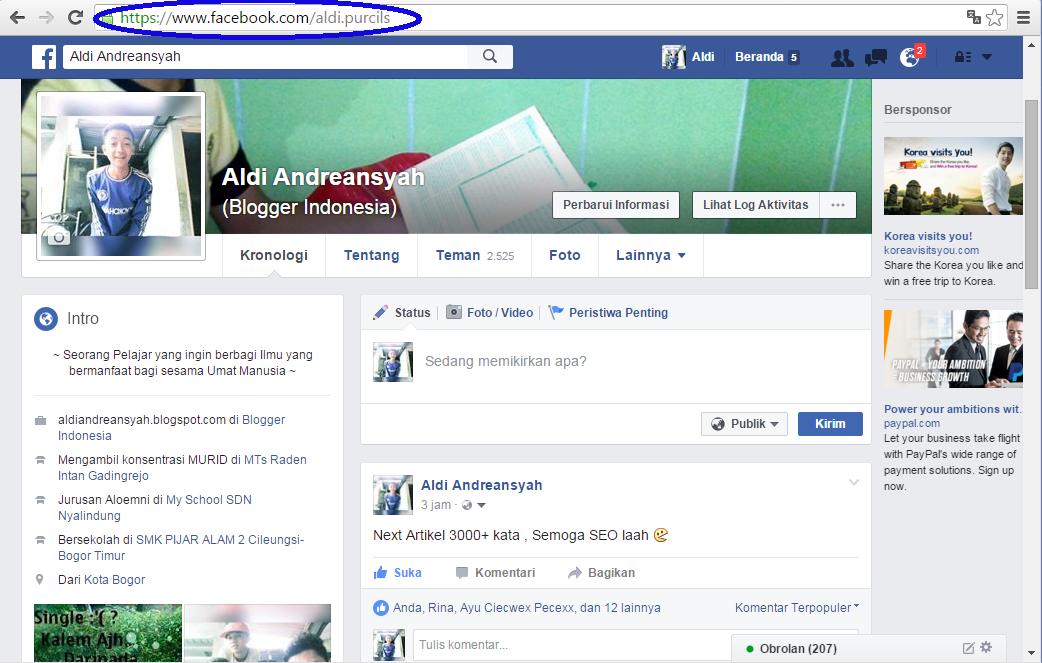 ubah url facebook