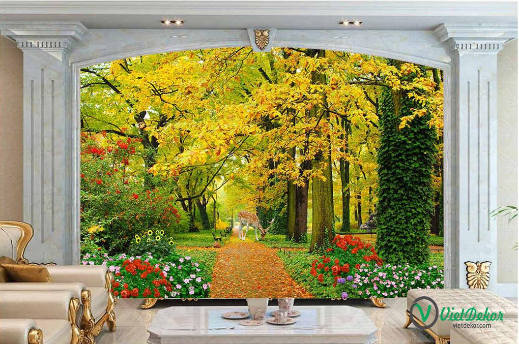 Tranh dán tường 3d phong cảnh mùa xuân