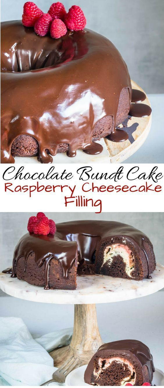CHOCOLATE BUNDT CAKE WITH RASPBERRY CHEESECAKE FILLING
