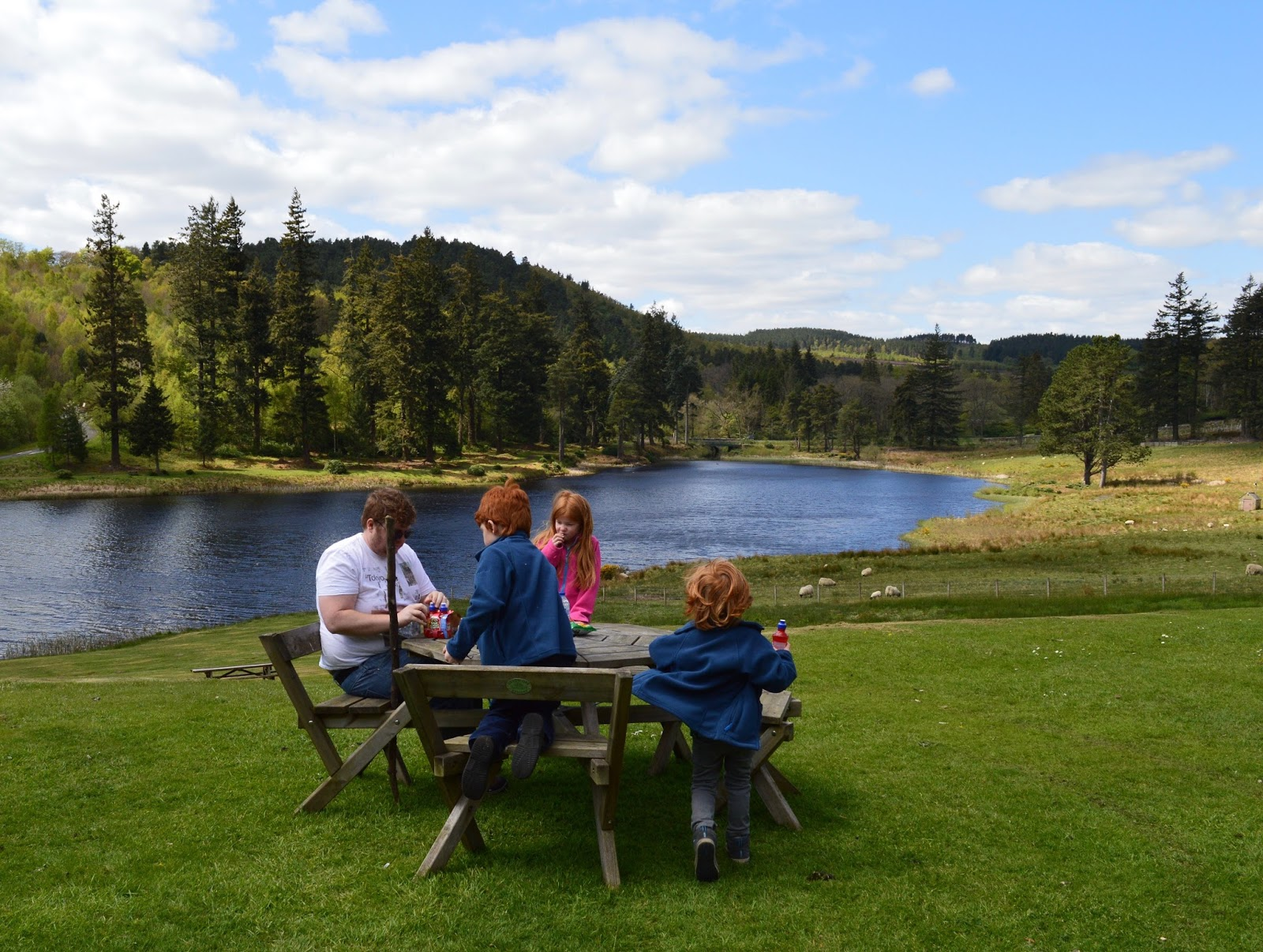 The Labyrinth at Cragside - picnic tables by the lake
