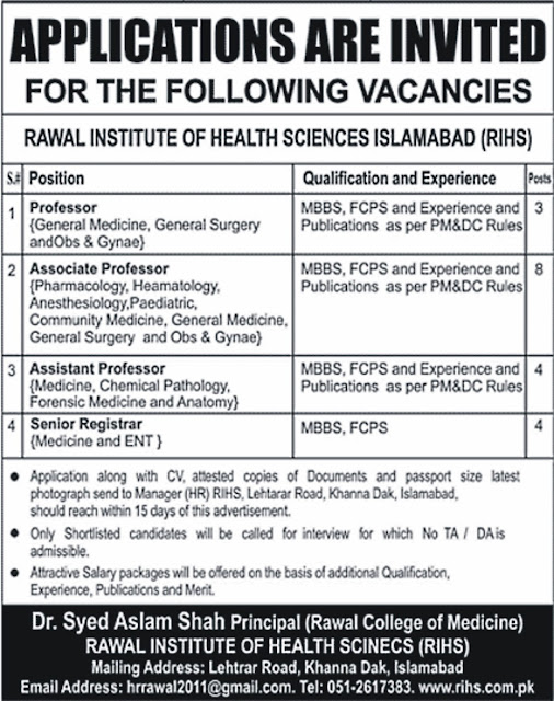 Doctors Jobs in Pakistan Rawal Institute for MBBS & FCPS