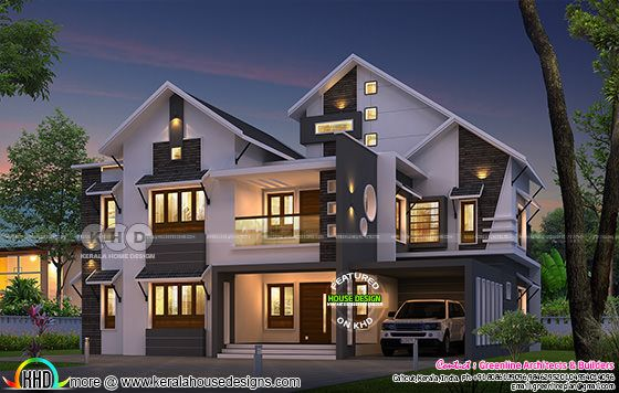 3106 sq-ft 5 bedroom sloping roof home plan