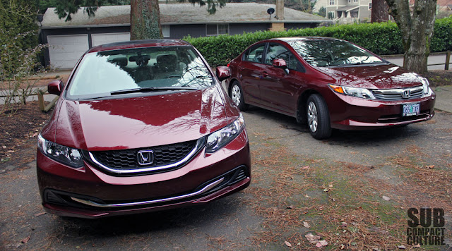 Front comparison of the 2012 and 2013 Honda Civic