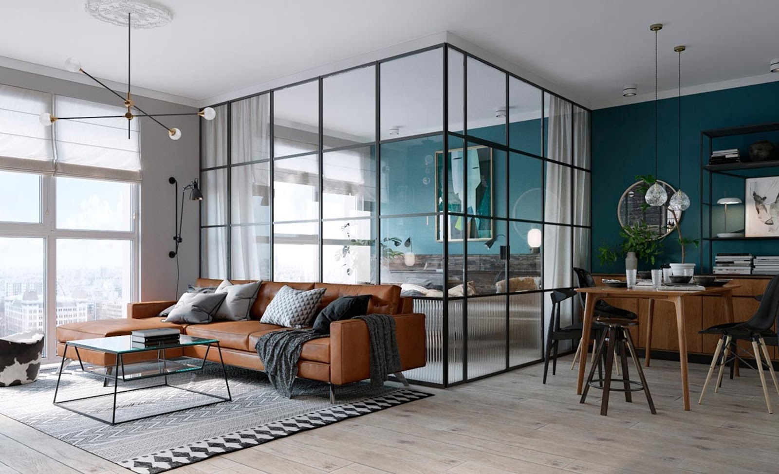 Tiny Kiev loft interior with eames chairs, glass walls