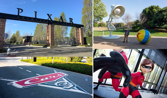 Pixar Animation Studios photos - the gates, Luxo Jr statue, Cars 3 cement and Mrs. Incredible