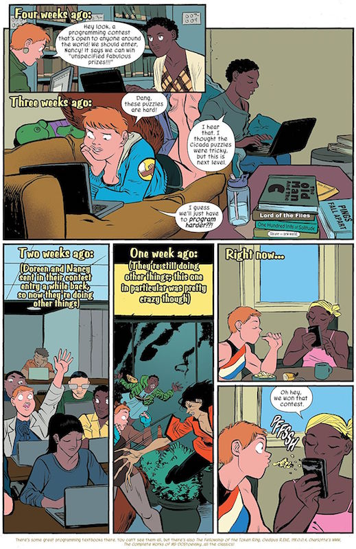 The Unbeatable Squirrel Girl #22, Story: Ryan North Art: Erica Henderson Colors: Rico Renzi Letters: Travis Lanham Logo: Michael Allred  Squirrel Girl created by Will Murray & Steve Ditko.