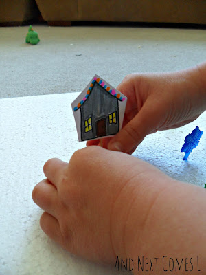 Homemade cardstock houses for fine motor practice from And Next Comes L