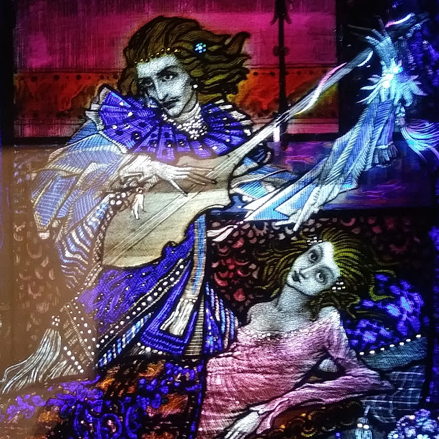Details from stained glass Eve. of St. Agnes by Harry Clarke