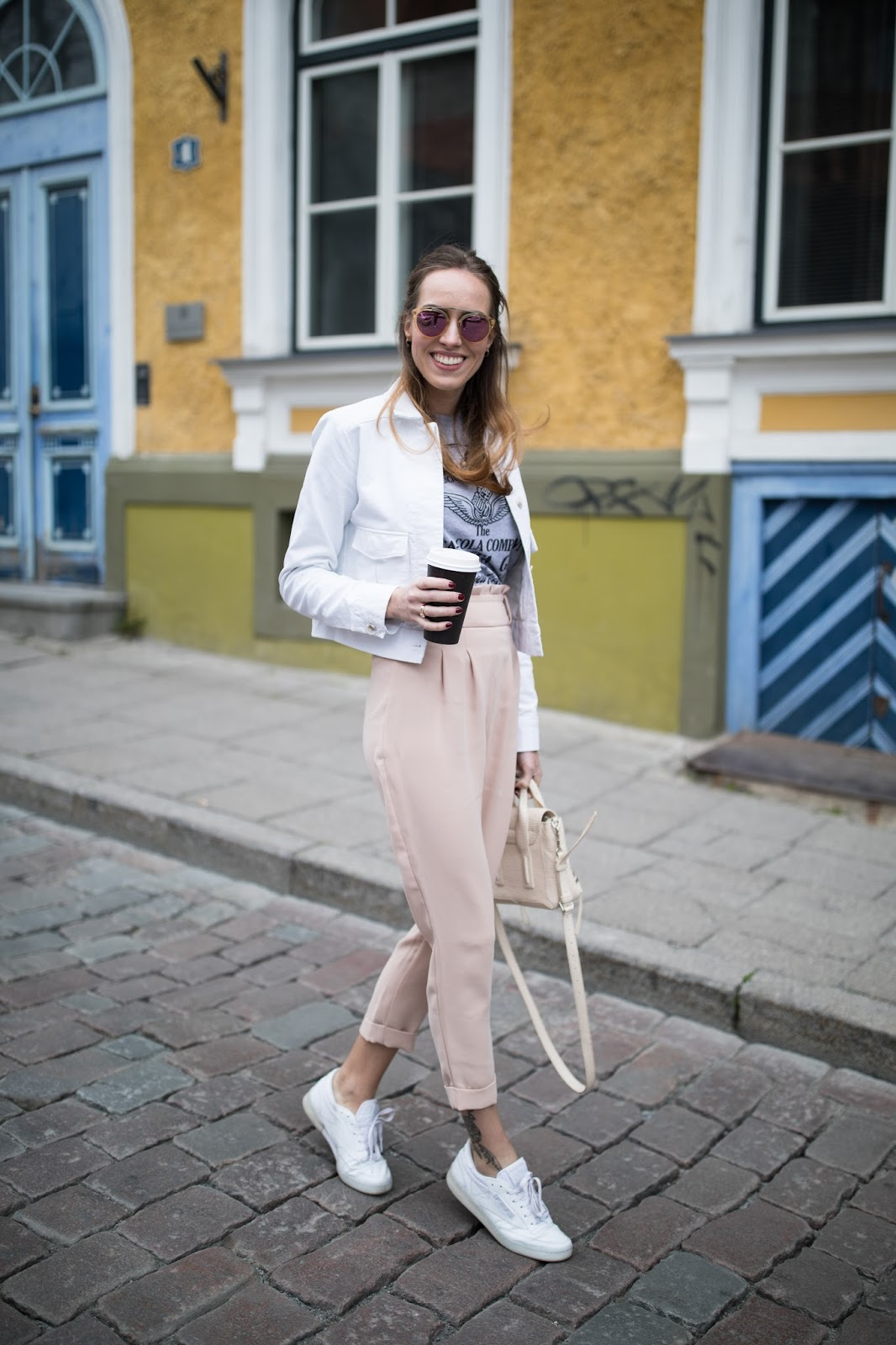 pink pants street style outfit