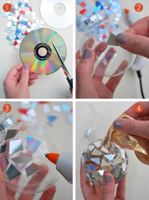 bolas, navidad, cds, reciclar, mosaico, manualidades, diys