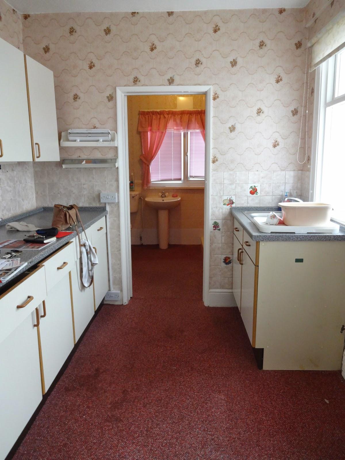 retro galley kitchen in victorian house