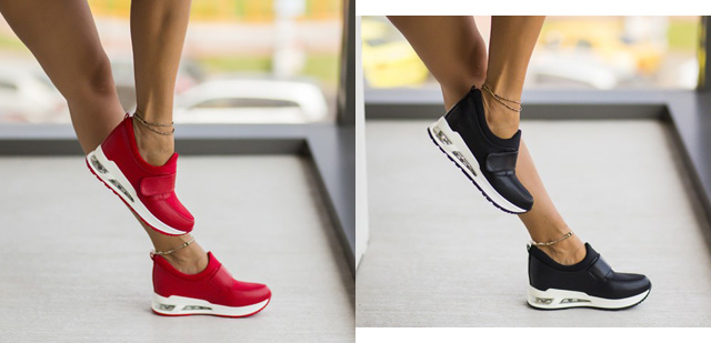 Adidasi la moda ieftini de femei negri, rosii de vara-toamna