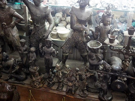 Bronze antiques at Bogyoke Market Yangon