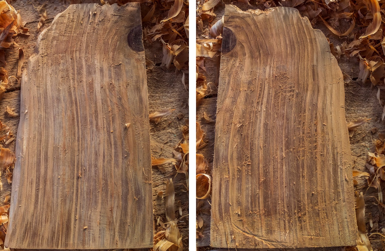 Front and back of a piece of wood after planing.