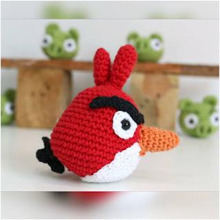 patrón amigurumi Red angry bird lanas y ovillos
