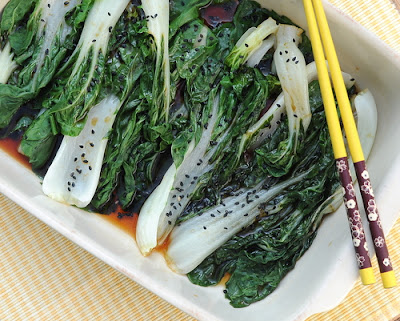 Easy Steamed Bok Choy Salad ♥ AVeggieVenture.com, steamed in the microwave or in a steamer. Great for Meal Prep. Weeknight Easy. Weight Watchers Friendly. Low Carb. Easily Gluten Free. Vegan. Best Salad in Sept 2013.