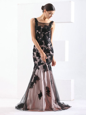 Trumpet/Mermaid Scoop Neck Sweep Train Tulle with Sashes / Ribbons Prom Dresses