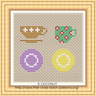 TEACUPS AND SAUCERS, FREE AND EASY PRINTABLE CROSS STITCH PATTERN