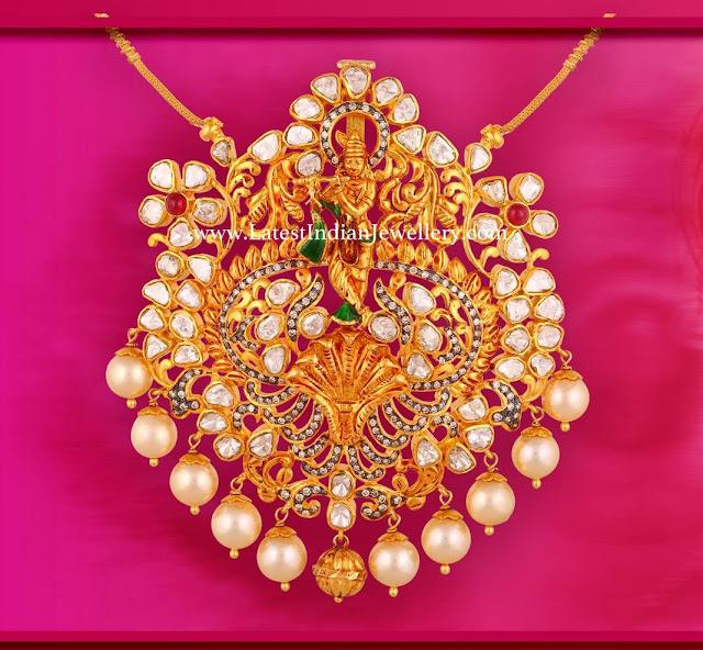 Pachi Work Krishna Pendant