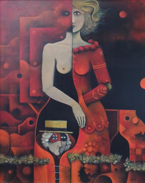 Eduard Alcoy obra arte acrílico lienzo surrealista mujer vestido rojo