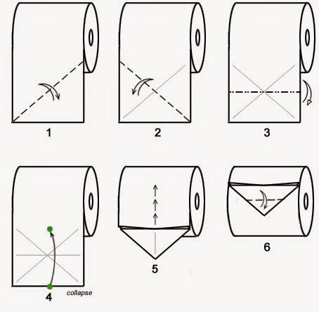 """Оригами """"Бабочка"""" из туалетной бумаги"""