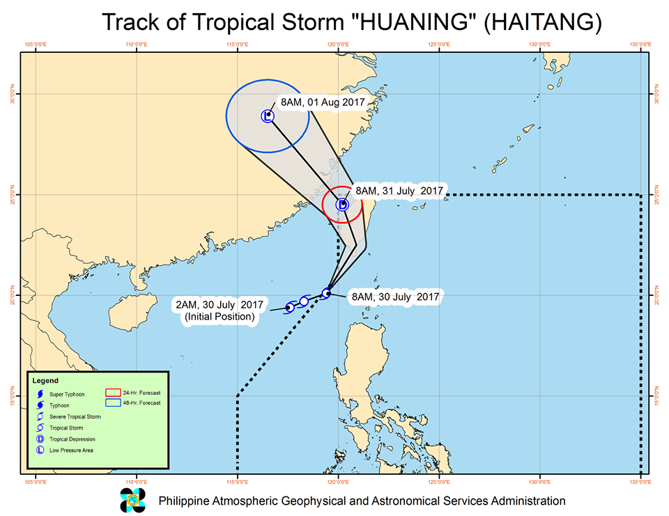 tropical storm Huaning track