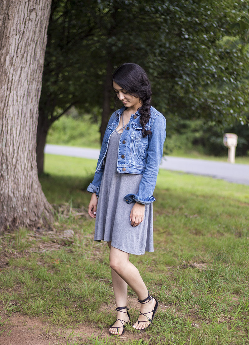 denim jacket and summer dress ootd