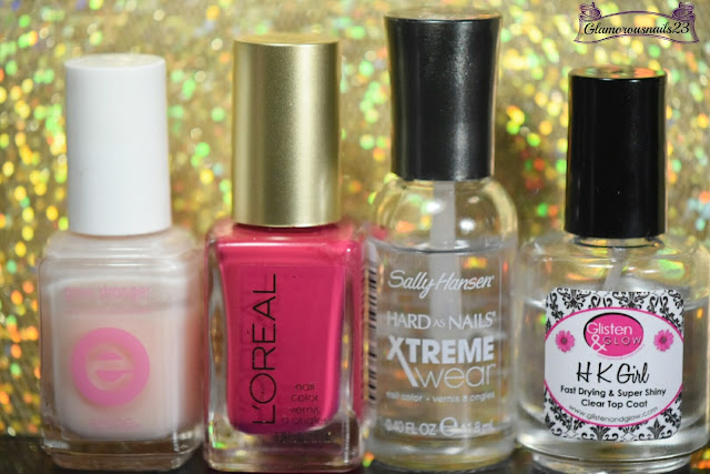 Essie Grow Stronger, L'Oreal Crazy For Chic, Sally Hansen Xtreme Wear Invisible, Glisten & Glow HK Girl Fast Drying Top Coat