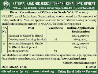 NABARD Bank Manager, Assistant Manager Vacancies Recruitment Exam 2019 Notification 87 Govt Bank Jobs Online Exam Pattern and Syllabus