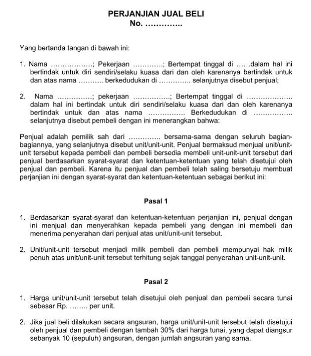 Contoh Surat Perjanjian Jual Beli Resmi, Baik dan Benar ...