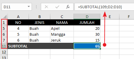 Contoh Fungsi Rumus Subtotal Hide Manual 2