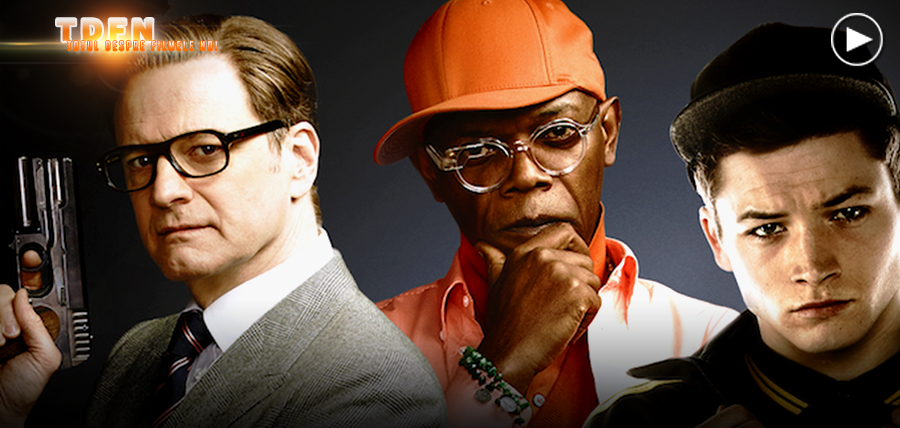 Colin Firth, Samuel L. Jackson şi Taron Egerton în filmul Kingsman: The Secret Service