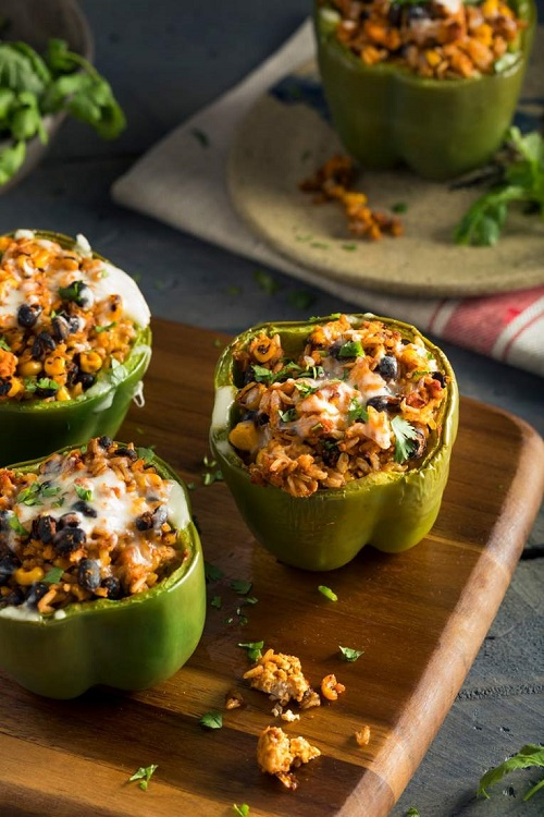 slow cooker vegetarian barbeque stuffed peppers