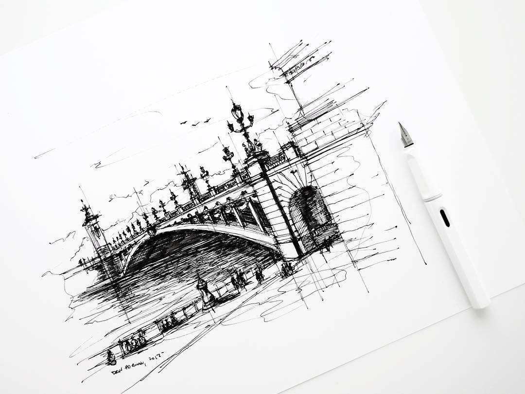 08-Pont-Alexandre-III-Dan-Hogman-Urban-Sketches-of-Paris-in-France-www-designstack-co