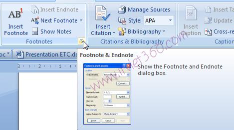 Cách tạo footnotes, endnotes trong Word 2007