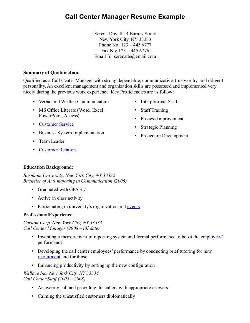 Call Center Resumes Call Center Resume Template Resume Builder  Resume For Call Center