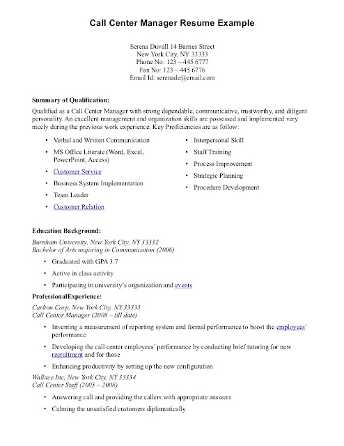 Call Center Resume Samples Sample Resumes - call center resume example