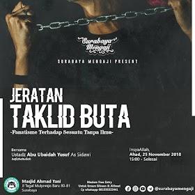Download [Audio] Rekaman Ceramah Jeratan Taklid Buta Oleh Ustadz Abu Ubaidah Yusuf As Sidawi