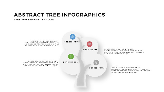 Abstract Tree PowerPoint Template with Circualr Leafs 4 Number Option in White Background