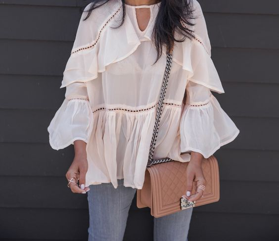 Walk In Wonderland - Ruffle Tier Sheer Top + Chanel Boy Bag
